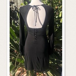 Black Backless Free People Long Sleeve Dress